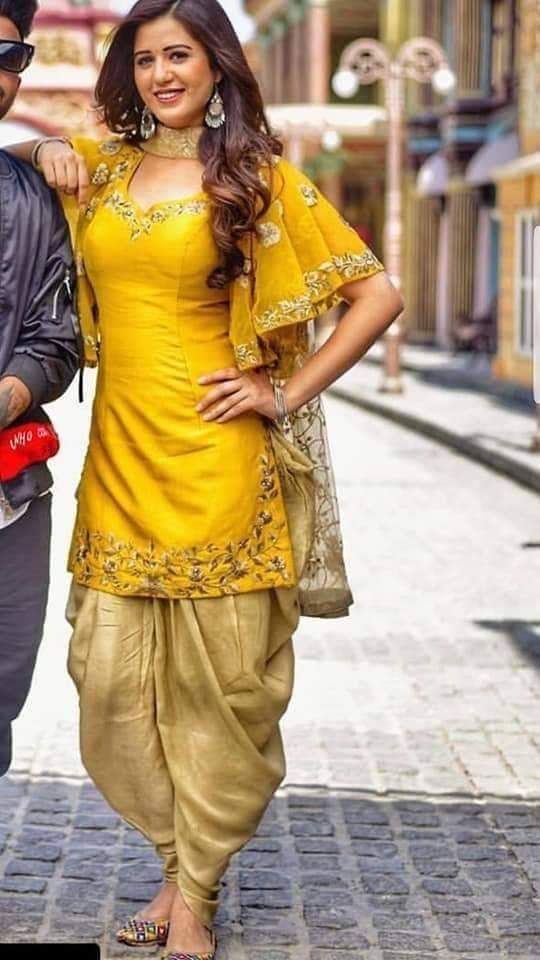 Mustard With Golden Designer Party Wear Dresses Kurti Designs
