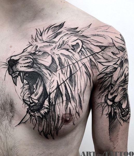 Art And Tattoo Sketch Style Tattoos Lion Tattoo Sleeves Lion Head Tattoos