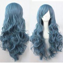 FSX5982Q >> mode vrouwen weven lang krullend golf haar pruik cosplay party blauwe kleur lolita pruik (China (vasteland))