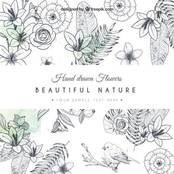 Cartão desenhado mão flores