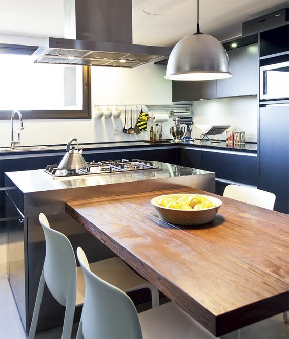 duplex br silien grande cuisine inox et plateau bois cuisine pinterest mesas po le et. Black Bedroom Furniture Sets. Home Design Ideas