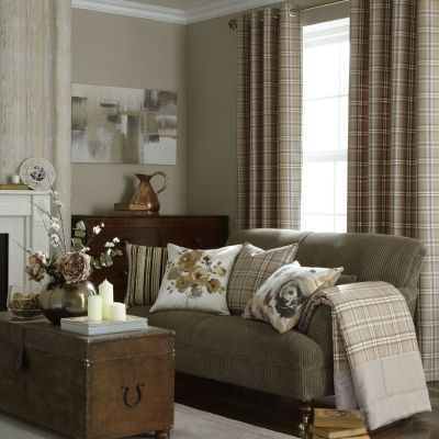 iLiv Piazza Cerato Tartan Check Eyelet Curtains - Charcoal