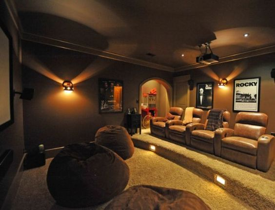Not sure about the big cushions on the floor, but I think it's good for a media room to have classic film posters/memorabilia on the walls to bring some personality