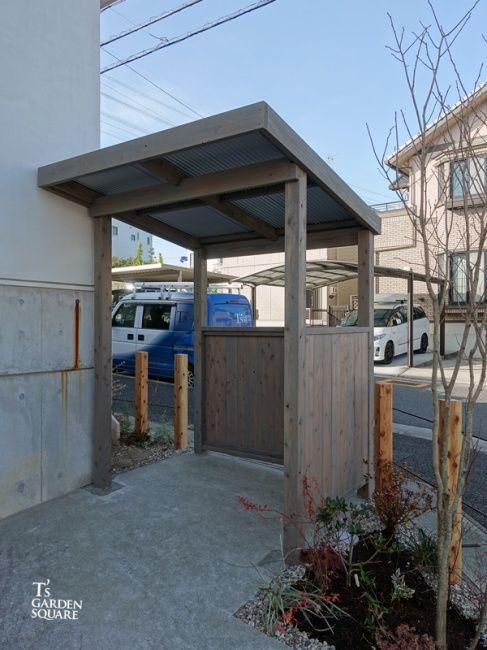 ジャンクガーデンに合うデザインサイクルポート ガルバの屋根 平屋 外観 シンプル ガーデン デザイン 屋外パティオ