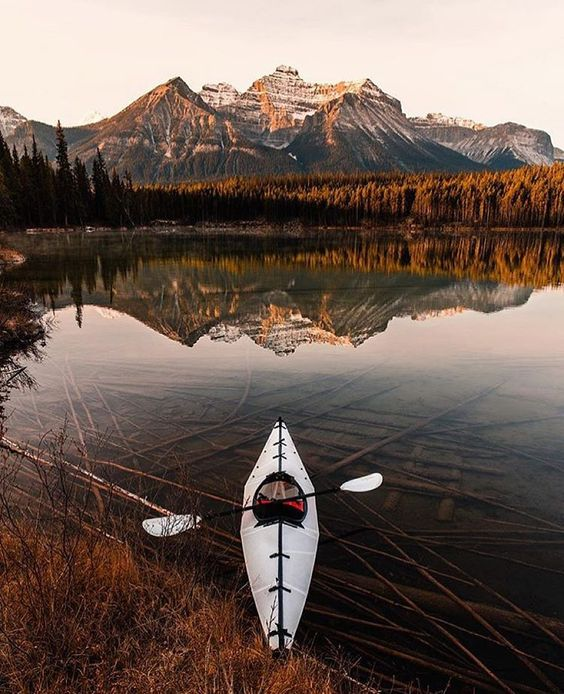 """Early morning paddle on Herbert Lake #canada  Photo: @tomparkr  #wildernessculture"""