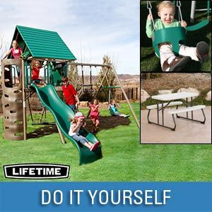 Lifetime®  Earth Tone Play Center Bundle  Includes Kid's Picnic Table  & Toddler Bucket Swing - Cosco $1399