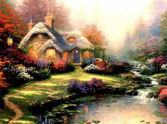 Thomas Kinkade cottage paintings - great for inspiration