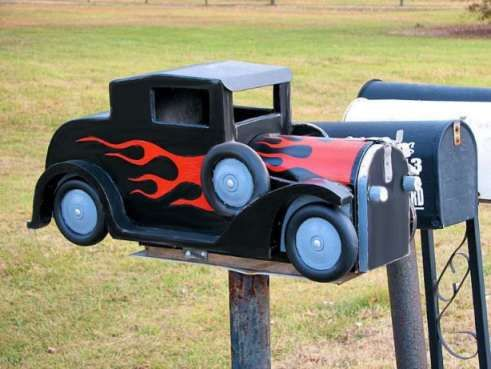 Caves awesome and the flame on pinterest for Car mailboxes for sale