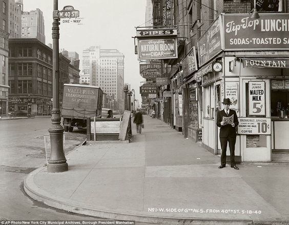 On the corner of Sixth Avenue and 40th Street in Manhattan 1940. Just look at all that type. It's all so good.