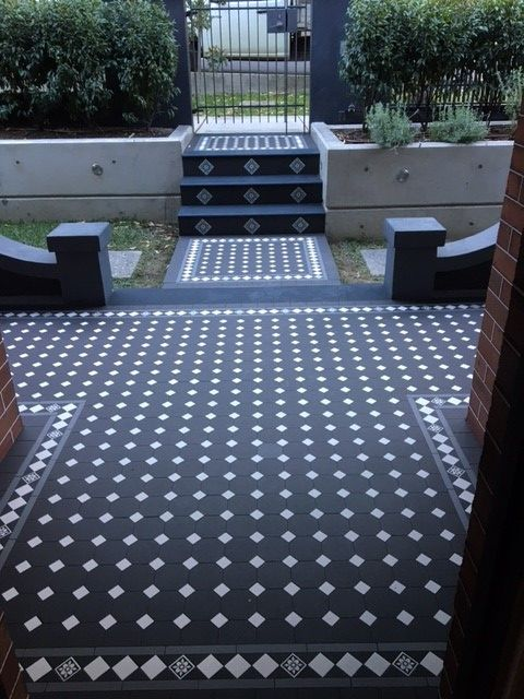 Tessellated Tiles Oxley Pattern Carbon Black With Super White Dots 35mm Norwood 120mm Border Feature Infill Carb Porch Tile Outdoor Tiles House Front