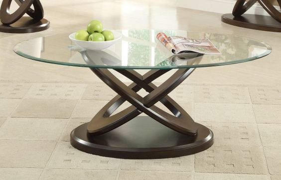 Casual Espresso Oval Glass Wood Coffee Table