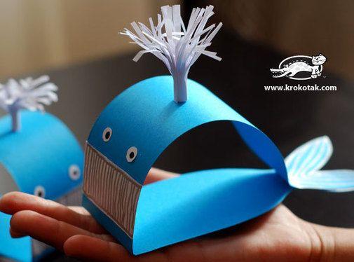 Paper Whale Craft-http://krokotak.com/2012/08/sin-kit-ot-hartiya/