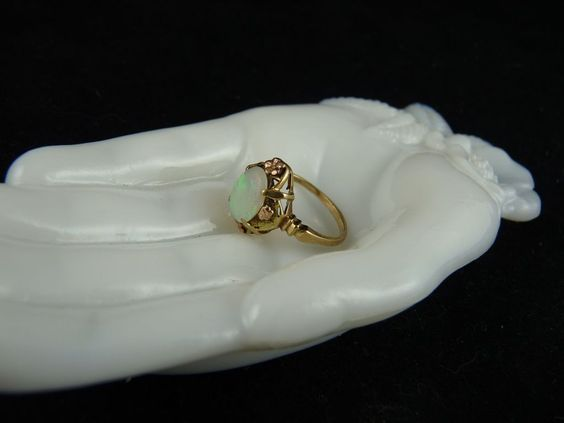 Victorian Opal Ring with Rose and Green Gold Accents 10K  *One of my favourites!