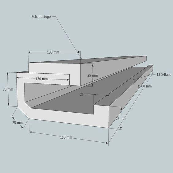 Lichtvoute Edle Optik / mit Schattenfuge für Ausleuchtung der Wand