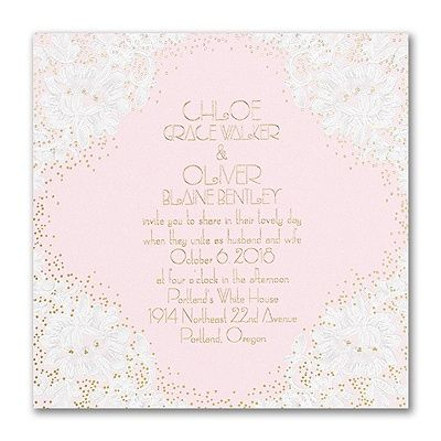 Lace is lovely - but watch it get glam with sparkling foil dots! The white, lacy floral wedding invitation gets your choice of options to show your style.
