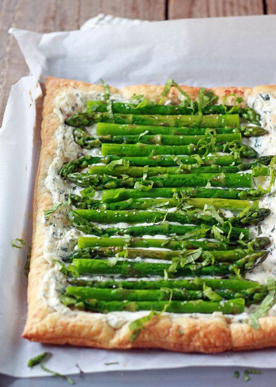 Cheese Tart recipe - Tender asparagus and tangy basil cream cheese ...