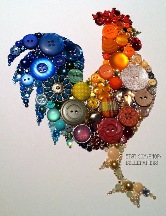 11x14 Kitchen Rooster Kitchen Art Buttons and Swarovski Unique Christmas Gift Unique Hanukkah Gift: