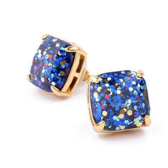 KATE SPADE Blue Glitter Stud Earrings - Mercari: Anyone can buy & sell