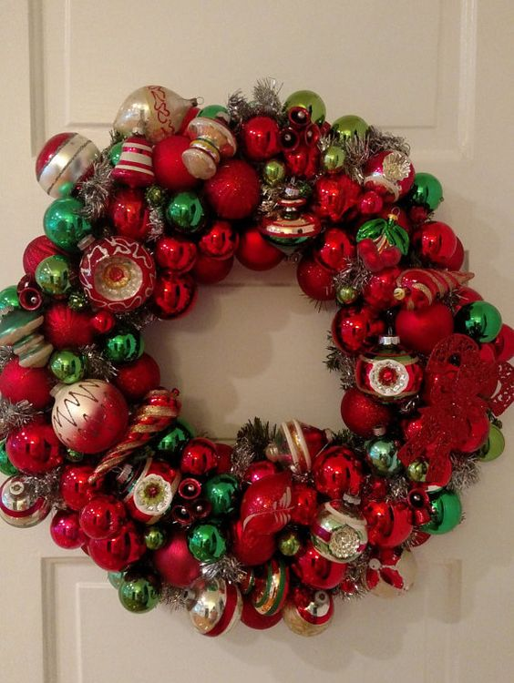 Vintage Ornament Wreath Decoration , Christmas Heirloom Red Green Shiney Bright Glass, Chic Handmade Holiday Indent Tinsel Ornaments OOAK