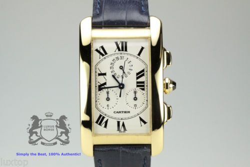 CARTIER Tank Americaine American Chronograph GM 1730 18 Karat Yellow Gold (164)