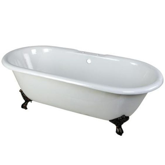 Bathtubs Plus | Kingston Brass VCT7D663013NB5 66 inches Cast Iron Double Ended Clawfoot Bathtub with Oil Rubbed Bronze Feet and 7 inches Centers Faucet Drillings, White $1223