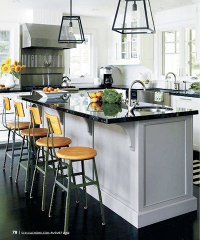 Love the black granite and the floors...