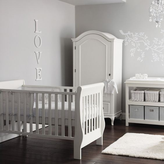 elegant white and grey nursery the white company love that armoire spaces nurseries. Black Bedroom Furniture Sets. Home Design Ideas