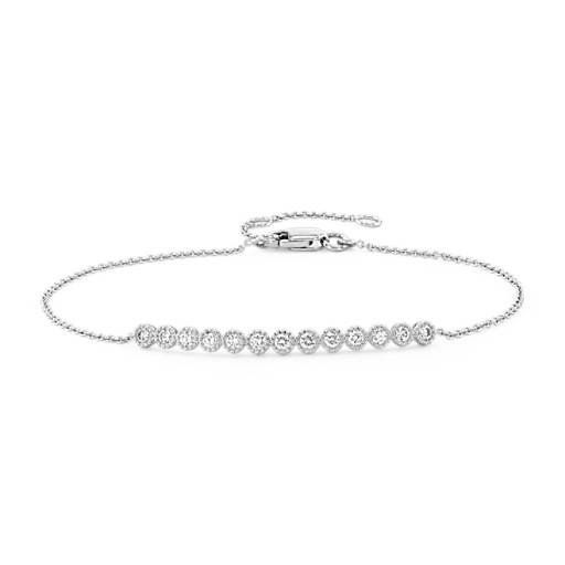 Diamond Milgrain Bar Bracelet In 14k White Gold 1 4 Ct Tw Blue Nile Bar Bracelets White Gold 14k White Gold