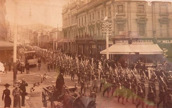 12th battalion of Australian Infantry Forces marching through Hobart Tasmania - WW1  The 12th Battalion was among the first infantry units raised for the AIF during the First World War. Half of the battalion was recruited in Tasmania a quarter was recruited in South Australia and a quarter from Western Australia. With the 9th 10th and 11th Battalions it formed the 3rd Brigade. (by Aussiemobs)