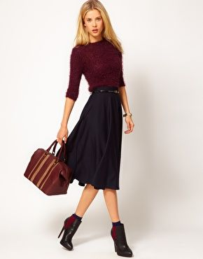 A few trends packed into one look: oxblood top, dirndl skirt, and the ever-popular bootie. All from ASOS.