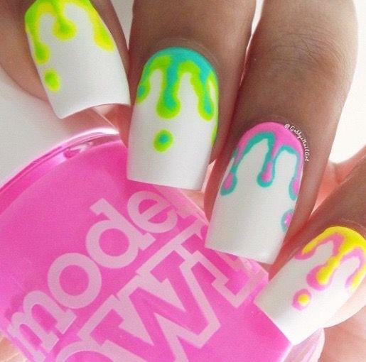 Squaresharp Whitebase Yellow Green Blue Purple Pink Paintdrips Wedding Acrylic Nails Spring Nail Art White Nail Art