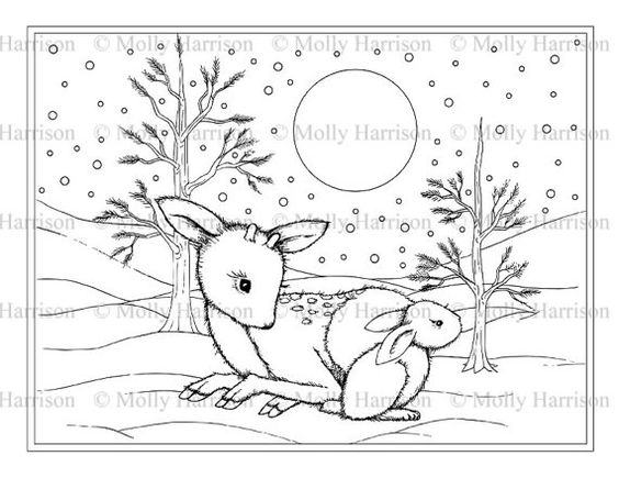 Little Fawn with Bunny Coloring Page   by MollyHarrisonArt on Etsy