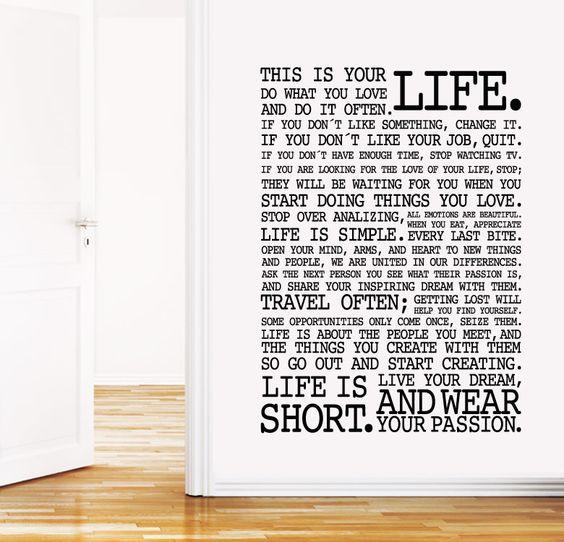 LIFE http://www.myvinilo.com/vinilos-decorativos-textos/life.html La vida es corta, la creatividad infinita. Vinilos decorativos, hogar, decoración, interiores, pared, diseño, wall decals, stickers, decoration, design, poetry, poesia, words, palabras, frases, dichos.