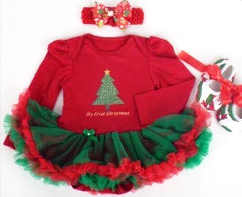 My First Christmas Tutu Set w/Headband & Shoes