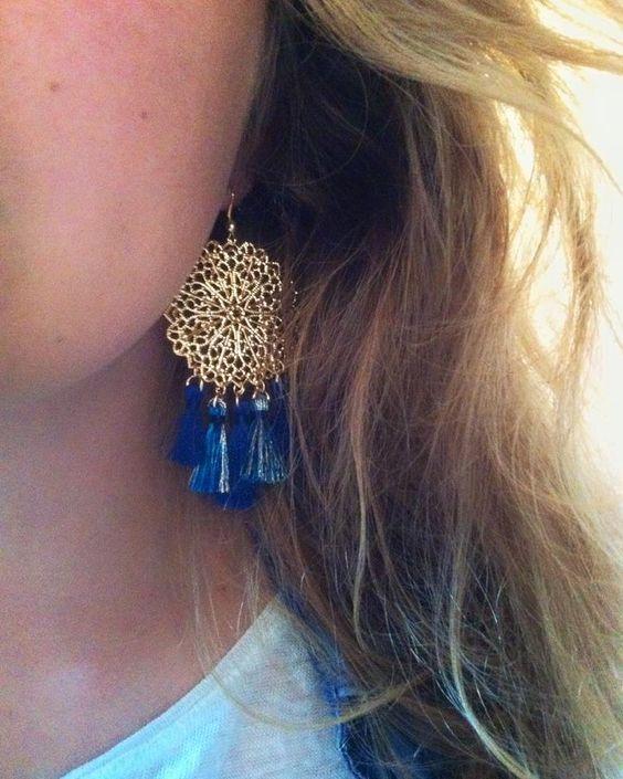 Boucles d'oreilles chandelier bleues Faites à la main en France - Les Désinvoltes: