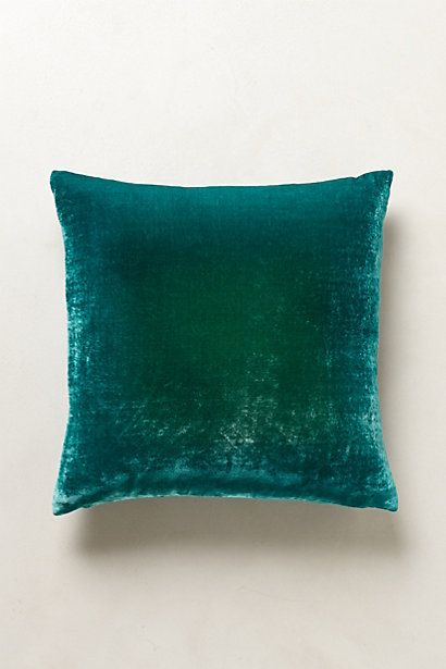Create texture and depth with this Turquoise Ombre Velvet Pillow   anthropologie.com