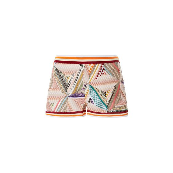 Missoni Multicolor Graphic Shorts (4.285 BRL) ❤ liked on Polyvore featuring shorts, stripe shorts, crochet shorts, slim fit shorts, slim shorts and missoni shorts