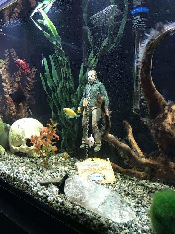 Rare Horror On Fish Tank Themes Fish Tank Decorations Cool