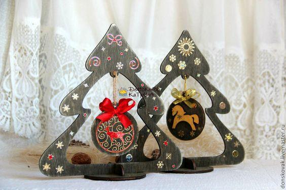 Купить Деревянная объемная елочка - Новый Год, новый год 2014, подарок на новый год, сувенир на Новый год: