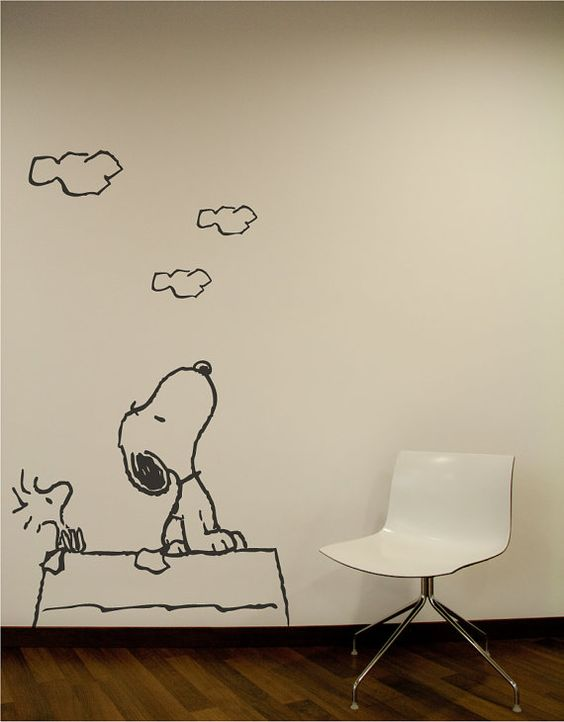 Snoopy wall decal snoopy wall stickers ebay with for Stickers pared bebe