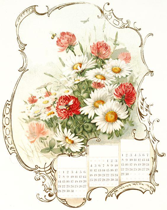 Beautiful Floral Calendar Image: