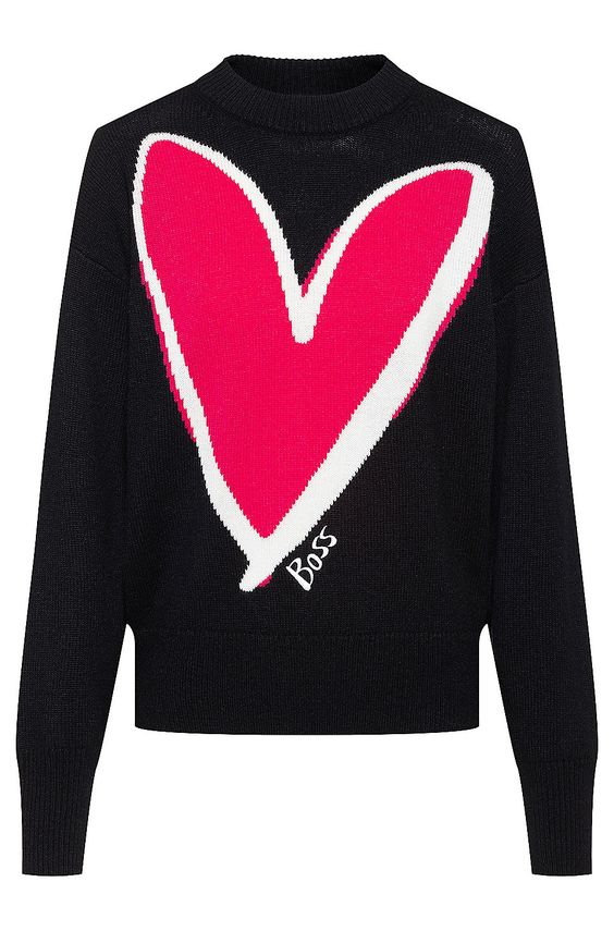 Relaxed-fit sweater in pure cashmere with heart intarsia - Patterned Sweaters from BOSS for Women in the official HUGO BOSS Online Store free shipping