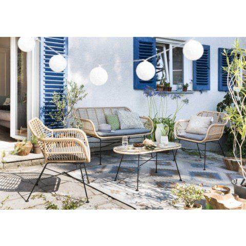 Das Vierteilige Lounge Set Tahiti Liegt Designtechnisch Voll Im Trend Die Angesagten Korb Mobel Weisen Mit Den Schwarzen Lounge Mobel Lounge Gartenmobel Sets