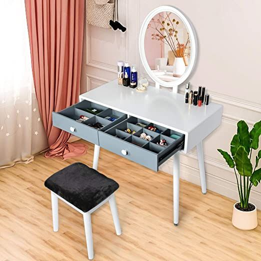 White Vanity Sets With Mirror And Bench Dressing Table With Lighted Mirror And Cushion Stool For Bedroom Small In 2020 Vanity Table Set White Vanity Set White Vanity Vanity table with lighted mirror and bench