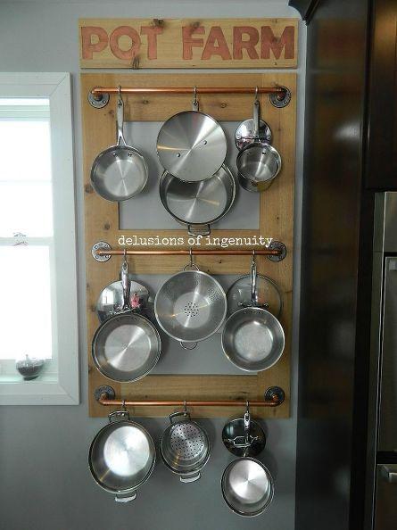 Pot farm or pot rack kitchen storage storage for Pot shelf decorating ideas