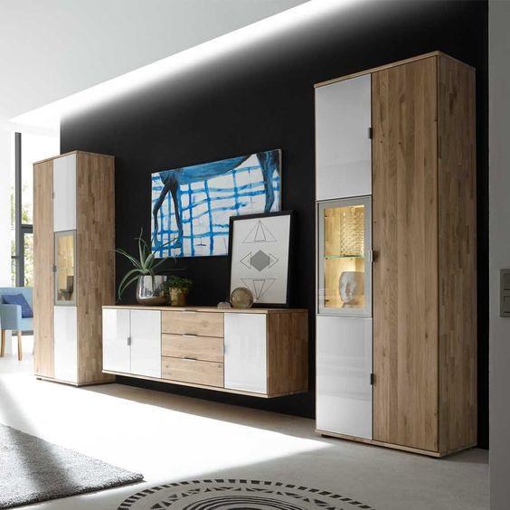 Wohnzimmer Wohnwand Aus Wildeiche Massivholz Weiß Glas (3 Teilig)  Wohnzimmerschrank,wohnwand,anbauwand,wohnwand Modern,wohnwand Massiv, Wohnwand Masu2026