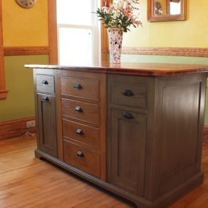 Rustic Kitchen Island With Wood Top by Robert McGrath