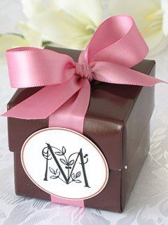 beautiful monogrammed party favor with a brown favor box and wild rose satin ribbon and a floral monogram gift tag by SophiesFavors, via Flickr