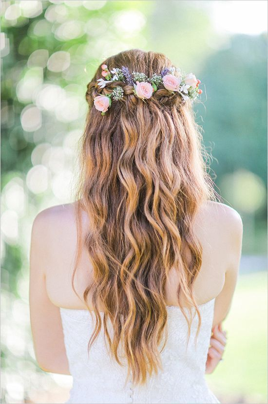 Rustic Simple Half Up Half Down Wedding Hairstyle For Long Hair With Floral Wreath Garden Wedding Hairstyles Wedding Hair Clips Wedding Hairstyles Bridesmaid