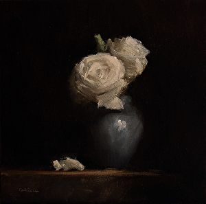 Roses by artist Neil Carroll.  Still life #oilpainting found on the FASO Daily Art Show - http://dailyartshow.faso.com